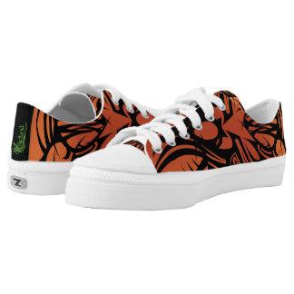 Orange Tribal Canvas Sneakers