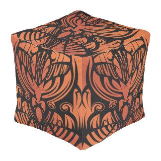 Orange Tribal Cube Bean Bags Pouf