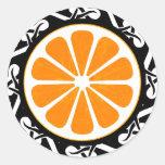 orange. tribal. round stickers