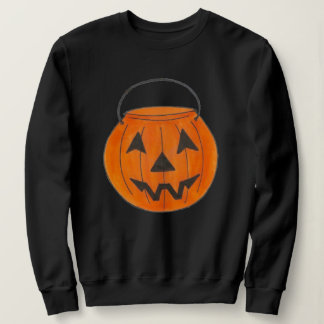 Orange Trick-or-Treat Pumpkin Bucket Halloween Sweatshirt