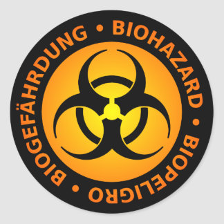 Orange Trilingual Biohazard Warning Classic Round Sticker