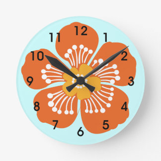 Orange Tropical Flower Wall Clcok Round Clock