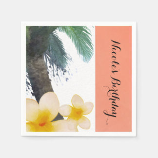 Orange Tropical Palm Tree & Plumeria Summer Party Paper Napkin