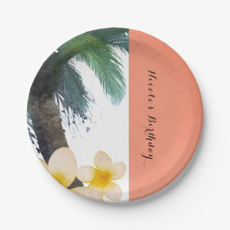 Orange Tropical Palm Tree & Plumeria Summer Party Paper Plate