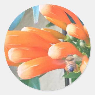 Orange Trumpet Flower with Bee Round Sticker