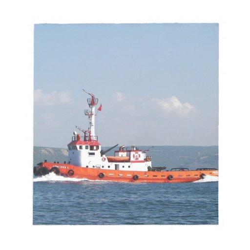 Orange Tug Boat Notepad