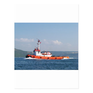 Orange Tug Boat Postcard