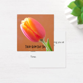 Orange Tulip Close-Up Photo Appointment Square Business Card