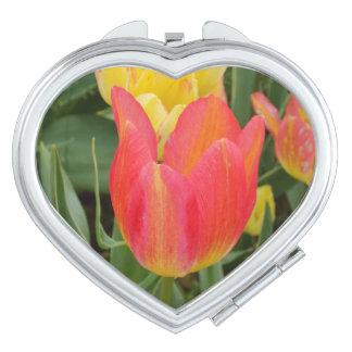 Orange   Tulip Heart Compact Mirror