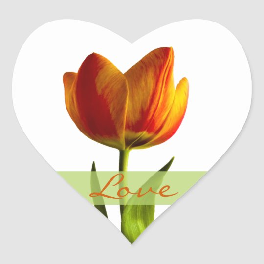 Orange Tulip Love Heart Wedding Envelope Seal Heart Sticker