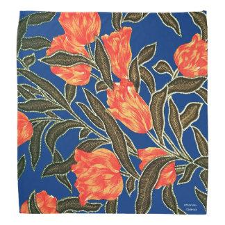"""""""Orange Tulips"""" Blue Bandana"""