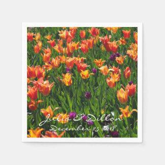 Orange Tulips in Garden Paper Napkin