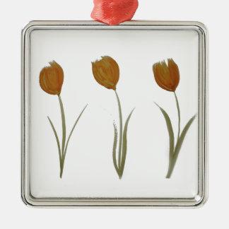 Orange Tulips Silver-Colored Square Decoration