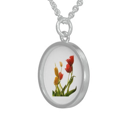 Orange Tulips,Small Sterling Silver Round Necklace