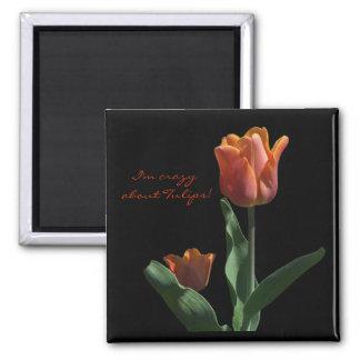 """""""Orange Tulips"""" Square Magnet"""