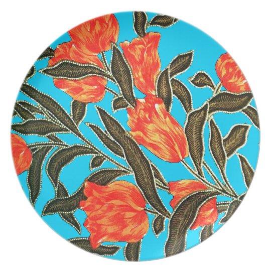 """Orange Tulips"" Turquoise Plate"
