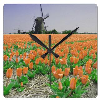 Orange Tulips Windmills Landscape Wallclock