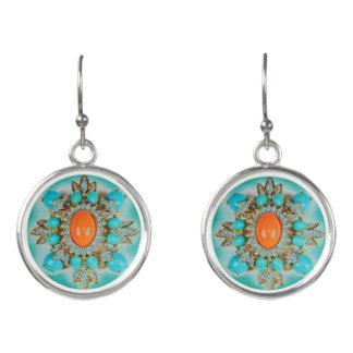 Orange/Turq. Photo - Silver Plated Drop Earrings