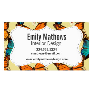 Orange & Turquoise Butterflies; Butterfly Pattern Business Cards