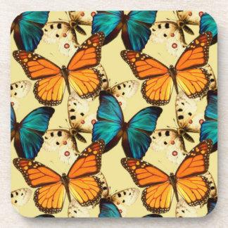 Orange & Turquoise Butterflies; Butterfly Pattern Coaster
