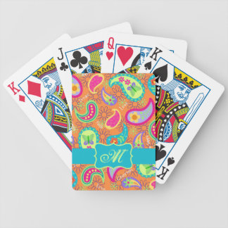 Orange Turquoise Modern Paisley Pattern Monogram Bicycle Playing Cards