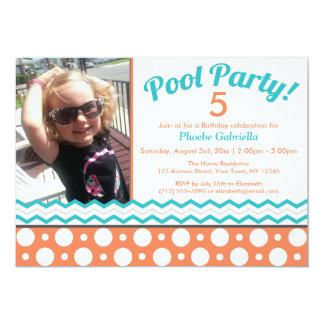 Orange & Turquoise Pool Party Birthday Invitations