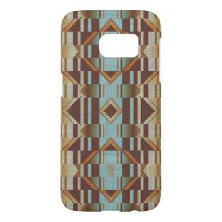 Orange Turquoise Taupe Brown Tribal Mosaic Pattern