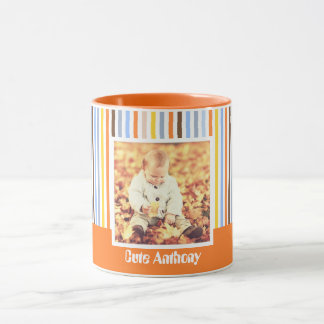 Orange typography and photo mug