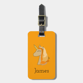 Orange unicorn luggage tag