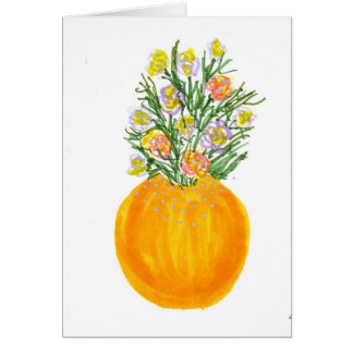 Orange Vase and Flowers Card