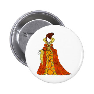 Orange Velvet and Pearls Gown 6 Cm Round Badge