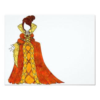 Orange Velvet and Pearls Gown 11 Cm X 14 Cm Invitation Card