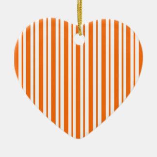 Orange Vertical Pinstripe Ceramic Ornament