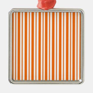 Orange Vertical Pinstripe Metal Ornament
