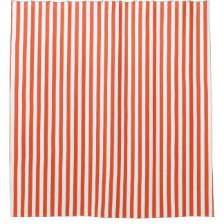 Orange Vertical Stripe Design Shower Curtain