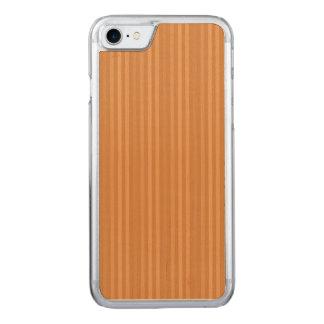 Orange Vertical Stripes Pattern Carved iPhone 7 Case