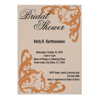 Orange Victorian Flourish Filigree Bridal Shower Card
