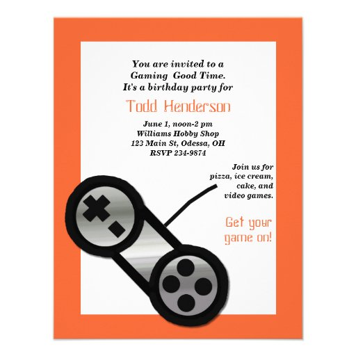 Orange Video Gaming Party Invitation