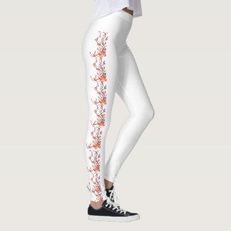 Orange Vine Flower Custom Leggings