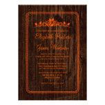 Orange Vintage Barn Wood Wedding Invitations