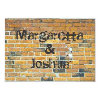 Orange Vintage Brick Wall Wedding Invitation RSVP