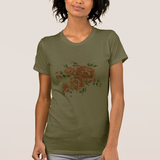 Orange Vintage Flowers Tshirt