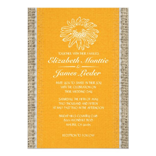 Orange Vintage Lace Wedding Invitations