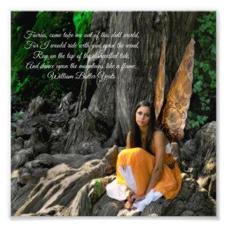 Orange Water Fairy William Butler Yeats Quote Photo Print