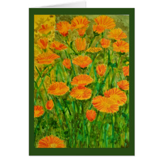 Orange Watercolor Daisies Card
