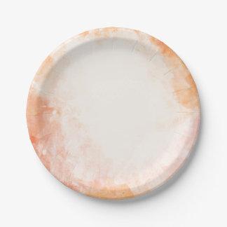 Orange Watercolor Grunge  Wedding  / Party Paper Plate