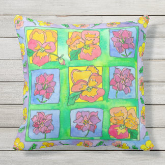 Orange Watercolor Pansy Flowers Throw Pillow