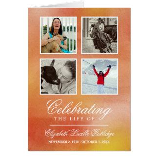 Orange Watercolor - Photo Funeral Program Card