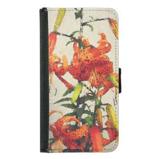 Orange Watercolor Tiger Lily 1 Samsung Galaxy S5 Wallet Case