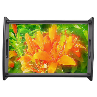 Orange Watercolor Tiger Lily Serving Tray